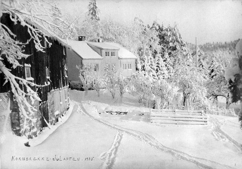 Hvit jul på Kornbrekke. Dette bildet ble tatt på julaften 1935.