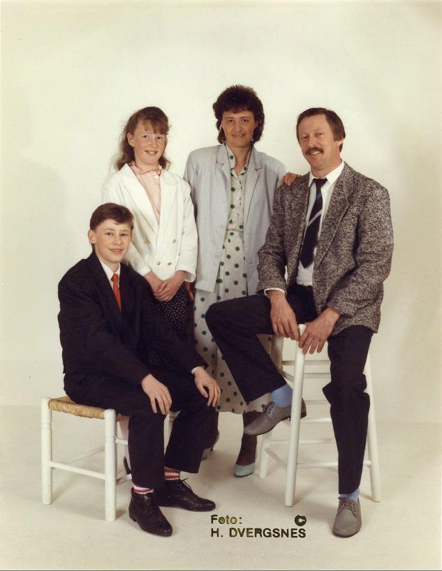 Familien Tor Helge, Monica, Mary, Dagfinn.