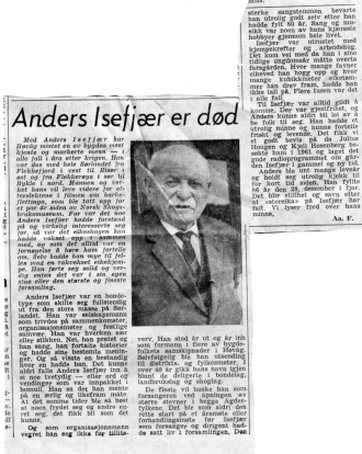 Anders Isefjær nekrolog