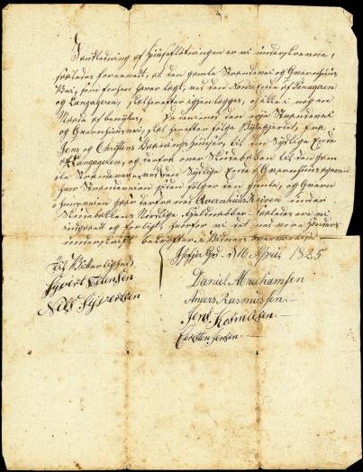Isefjær, ikke tinglyst dok fra 1825