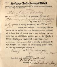 Vaksinasjonsattest fra 1860