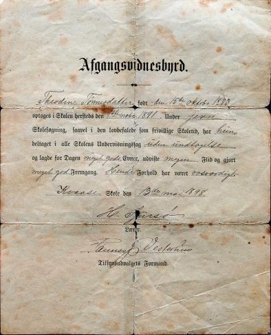 Vitnemål fra 1898