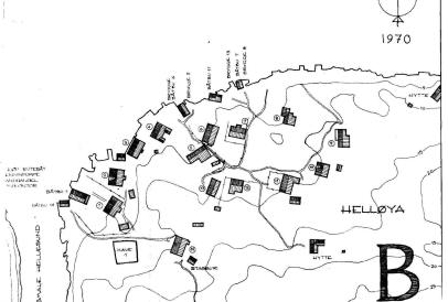 Helløyakart med husene nummerert
